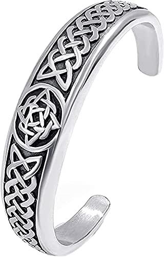 Pulsera de brazalete Celtic Nudo de acero inoxidable de acero inoxidable Pulsera de brazalete, símbolo de nudo de trinidad vintage nórdico, pulsera regulable, Edad Gótica Edad Media Pagan Amuleto Joye