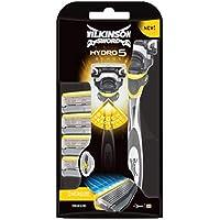 Wilkinson Sword Pack Hydro 5 Sense - Kit con Máquina de Afeitar Recargable de 5 Hojas con Gel Hidratante para Hombre + 4 Cuchillas de Recambio , Afeitado Manual Masculino