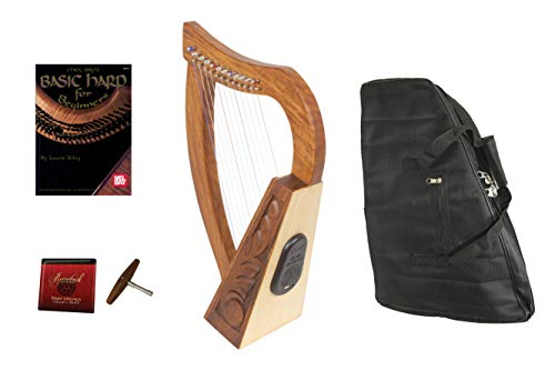 Package Include: Roosebeck Baby Celtic Harp 12-String w/Bluetooth Speaker+ Gig Bag + Play Book + Extra Strings