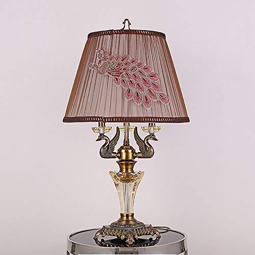 Kristall Antike Metall Tischlampe Nachttischlampe Schreibtischlampe Mit Leinen Schatten Moderne Metall Für Wohnzimmer Schlafzimmer Nachttischlampe Dekorative Tischlampe Ø42*H67cm (Gold)