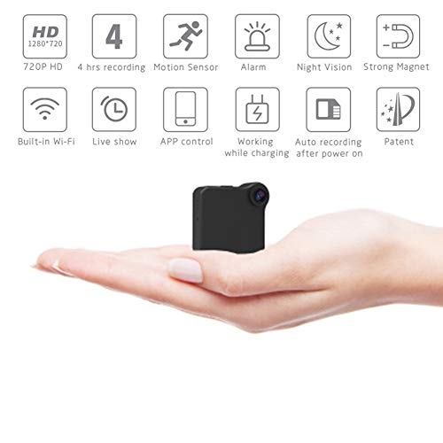 B&H-ERX Espioncamera, 1080P HD WiFi verborgen camera Spy Cam, kleine bewakingscamera's, draadloos, met nachtzicht, bewegingsdetectie, afstandsbediening
