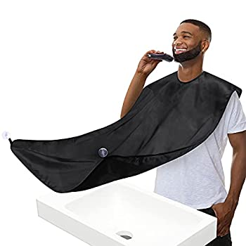 Beard Bib Beard Apron Beard Hair Clippings Catcher for Shaving and Trimming Grooming Cape Apron with 4 Suction Cups Adjustable Neck Straps Beard Gift for Men  BLACK