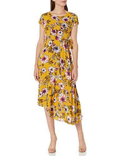 Donna Morgan Women's Side Twist Asymmetric Hem Dress, Flax Yellow/Retro Rose Multi, 10