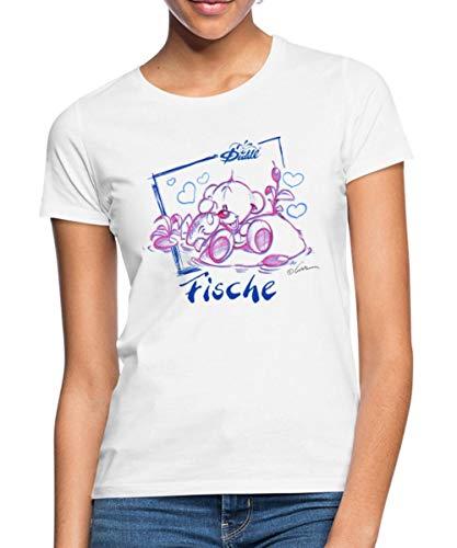 Diddl Sternzeichen Fische Teddy Pimboli Frauen T-Shirt, XXL, Weiß