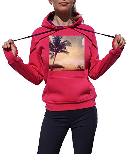 KrisTalas Sweat à Capuche Femme Palm Beach Summer Life Cool Young and Free City Style Urban Rose Large