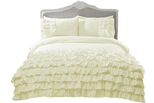 Marilyn Bed & Bath New Flamenco Embellished Ruffles Frills Duvet Bedding Quilt Cover Set and Pillowcase Size Single, Double & King (Cream, King)