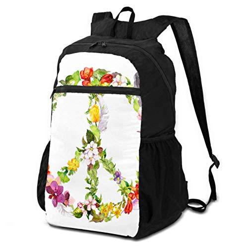 Tagesrucksäcke zum Wandern, buntes Friedenszeichen Glück, leichter Rucksack verstaubar, Reiserucksack, verstaubar, leicht, wasserdicht, für Damen und Herren