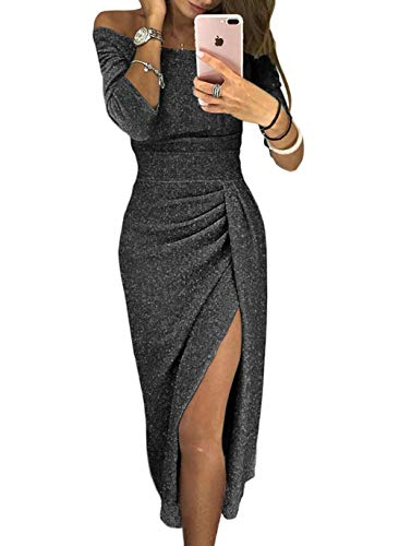 HUUSA Off Shoulder Plus Size Black Evening Party Prom Dresses Wedding Womens with Sleeves Solid Shiny Formal Midi Dresses X-Large (US 16-18) Black