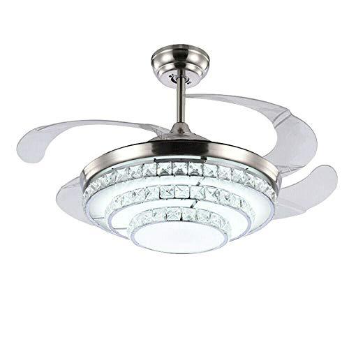 Lámpara de araña retráctil de cristal de 100 cm, luz retráctil + mando a distancia, ventilador de techo ajustable, velocidad del viento