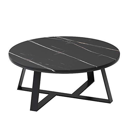 WENCY Kleine salontafel ronde metalen frame minimalistische stijl leisteen marmer krasbestendig geschikt voor woonkamer slaapkamer, zwart A, Large