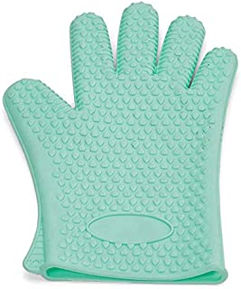 Opalina Hand Shaped Gloves, Teal Green
