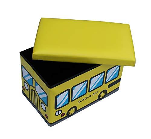 Tabouret School Bus GMMH Coffre à Jouets Pliable boîte à Jouets Tabouret Pliable Motif Bus