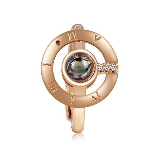 100lingue di i Love you Ring, donne proiezione anello aperto regolabile, giorno di San Valentino regalo per gli amanti, colore: rose glod, cod. 4230AL116T