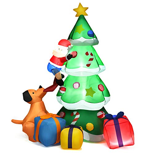 Tangkula 7 Ft Inflatable Christmas Tree with Santa Claus Dog & Gift Boxes, Self Inflating Electric Blow Up Lighted Interior with Fan and Anchor Ropes, Indoor Outdoor Garden Yard Family Prop Decoration