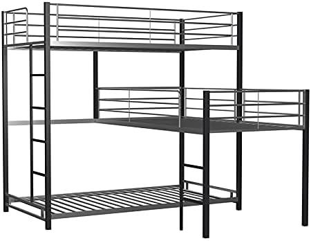 Amazon Com Furniture Of America Crossman Metal Twin Triple Bunk Bed In Sand Black Furniture Decor