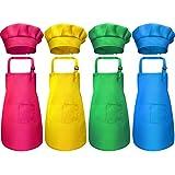 boogift Delantal para Niños y Conjunto de Gorro,Cocinero de Niños Algodón Ajustables de Cocina de Niños Niñas con 2 Bolsillos para Vestido de Cocina Repostería (4 Piezas) (Traje 2)