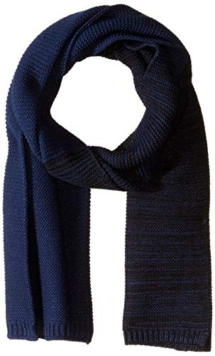 Steve Madden Men's Striped Waffle Scarf, Blue, One Size