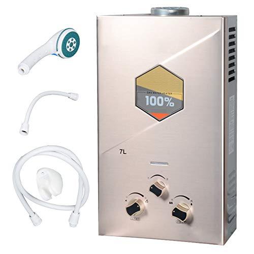Stoge 7L 14KW Instant LPG Gas-Warmwasserbereiter Flüssig-Propan-Warmwasserbereiter Propangas-Heizkessel mit Duschkopf-Kit für zu Hause