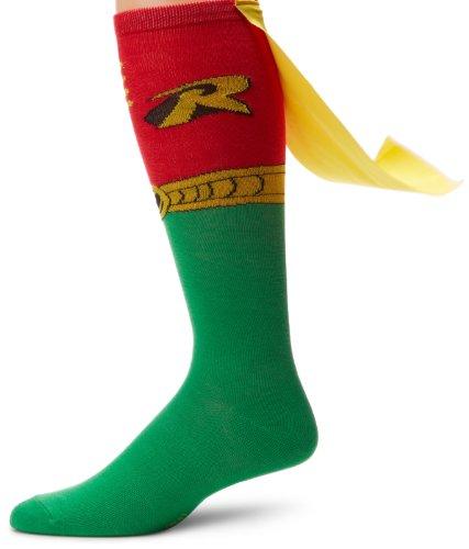 dc comics Robin Juniors - Calcetines altos hasta la rodilla, rosso, Taille unique