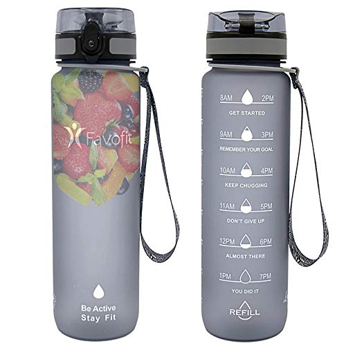 Favofit 32 oz / 1 Liter Motivational Sports Water Bottle with Time Marker, Fruit Infuser Filter and Cleaning Brush, BPA-free Tritan Plastic, 1 Click Open, Gray
