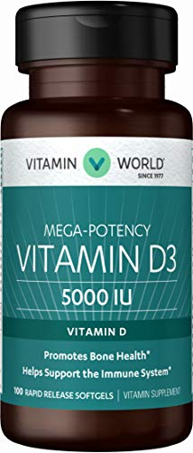 Vitamin World Vitamin D3 5000 IU 100 Softgels, Mega-Potency, Bioavailable, Promotes Bone Health, Helps Support Immune System, Rapid-Release, Gluten Free