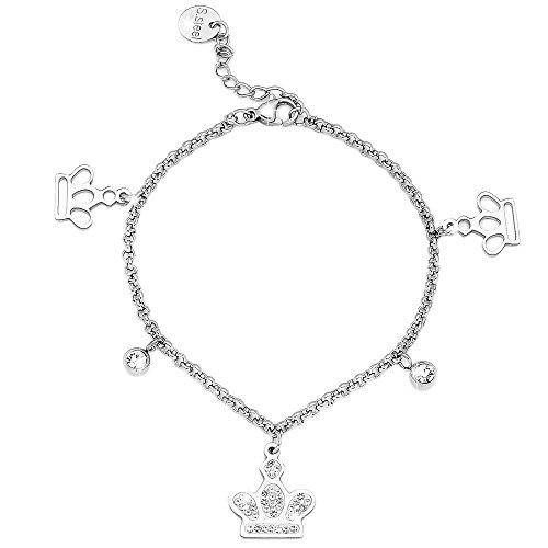 Beloved Braccialetto donna con cristalli in acciaio - bracciale charms con 5 ciondoli pendenti - con catena e charm a tema incastonati - misura regola