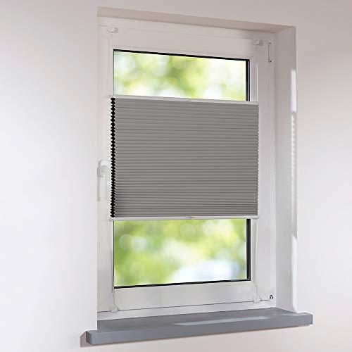 Sonnenschutz-HH - Plissee Duett Wabenplissee Universal verspannt 50 x 120 cm - Farbe Grau - Thermo Verdunkelung zum Schrauben oder Klemmen - inkl. Klemmträger für Fenster und Türen