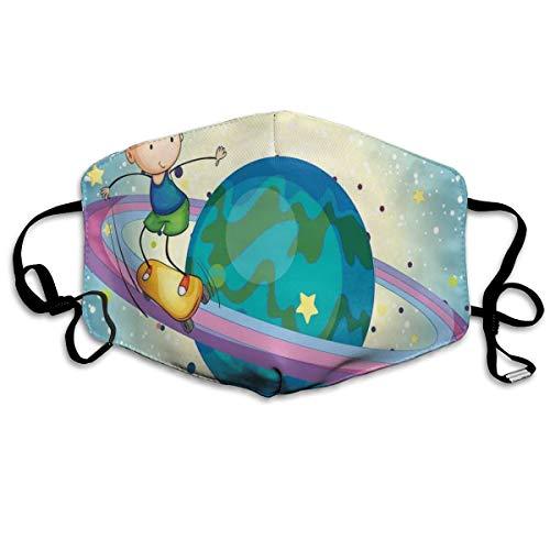 Fantasy Jongen Skateboarden Op Ringen Van Saturnus Sci Fi Cosmos Planetaire PlayroomPrinting Veiligheid Mond Cover voor Volwassen