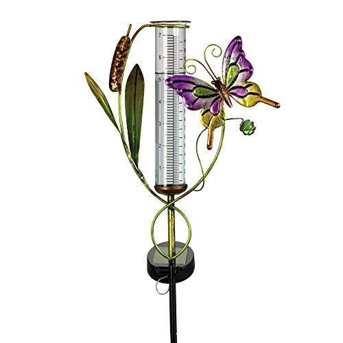Bits and Pieces – Solarbetriebener Regenmesser mit Schmetterling, Gartenstatue – Solarpanel fängt Sonnenlicht ein und beleuchtet Regenröhre aus Glas mit LED