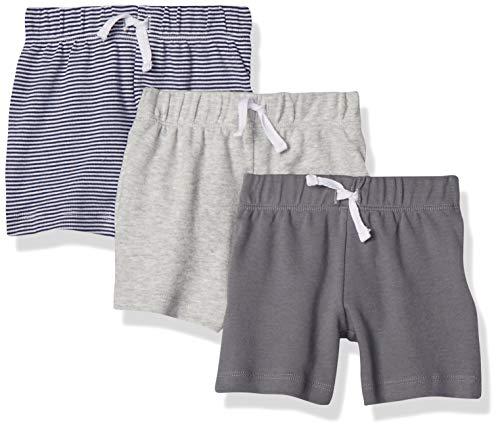 Amazon Essentials Baby-Shorts für Jungen, 3er-Pack, Mehrfarbig (Grey/Black Stripe), 80 cm ( US 18M )