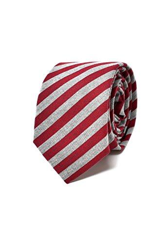 Oxford Collection Cravate Homme à rayures Rouge et Gris - 100% en Lin - Classique, Elégante et Moderne - (Idéale pour un cadeau, un mariage, avec un c