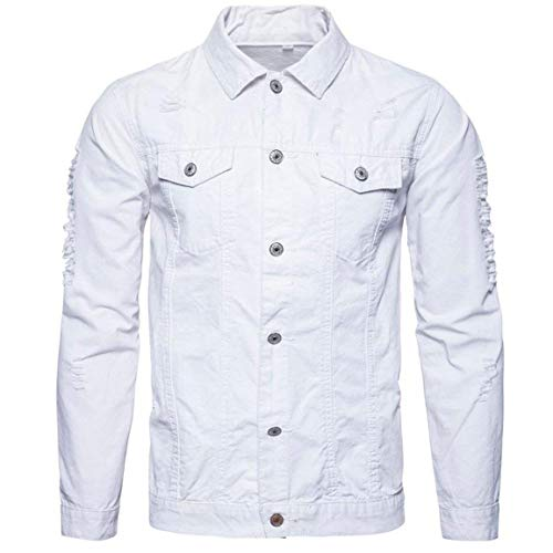 Männer Nner Herbst Langarm Einfacher Outwear,Moonuy Herren Demin Stil Winter Langarm Demin Jacke Tops Outwear Style Demin Shirt (Color : Weiß, Size : M)