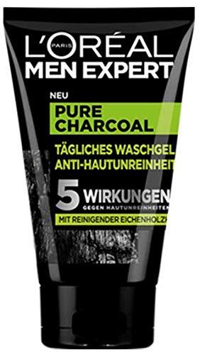 L'Oréal Men Expert, Pure Charcoal Waschgel, gegen unreine Männerhaut (Pickel, Mitesser, fettige und ölige Haut) (1 x 100 ml)