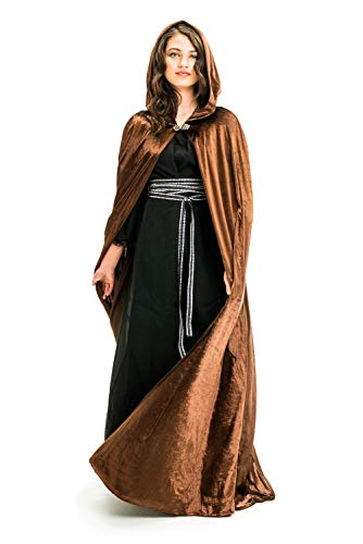 Little Adventures Deluxe Velvet Adult Cloak Cape with Lined Hood (Brown)