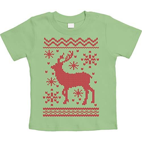 Ugly Christmas Reindeer in sneeuw Unisex baby T-shirt maat 66-93