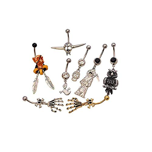 Pack of 8 Halloween Themed Belly Button Rings