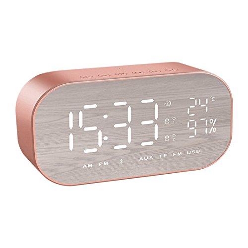 TOOGOO S2 Bluetooth Wireless Mini Alarm Spiegel kleine Stereo Computer Auto Subwoofer kreative Nacht Lautsprecher Rosegold