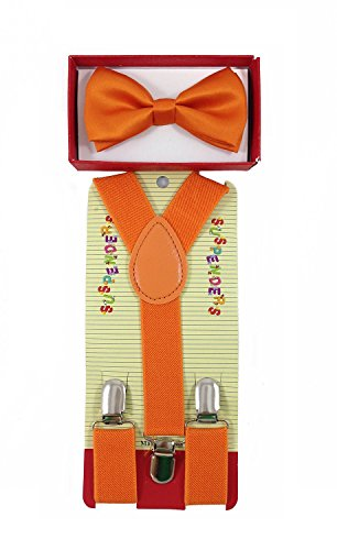 ORANGE Tuxedo Bow Tie And Supenders Set For Kids Youth - PreTied Bow Tie With Adjustable Children Suspenders