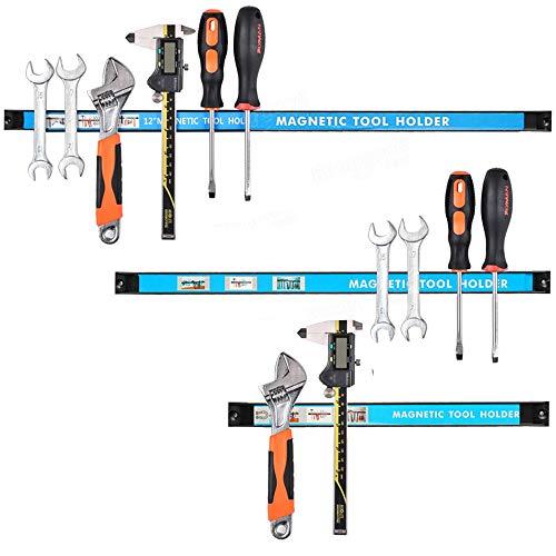Bakaji Set 3pz Barra Magnetica Portautensili Barre Magnetiche Calamitate da Parete Muro Porta Attrezzi da Lavoro e Coltelli Dimensione 20/30/45 cm Kit di Montaggio Incluso (20-30 - 45 cm)
