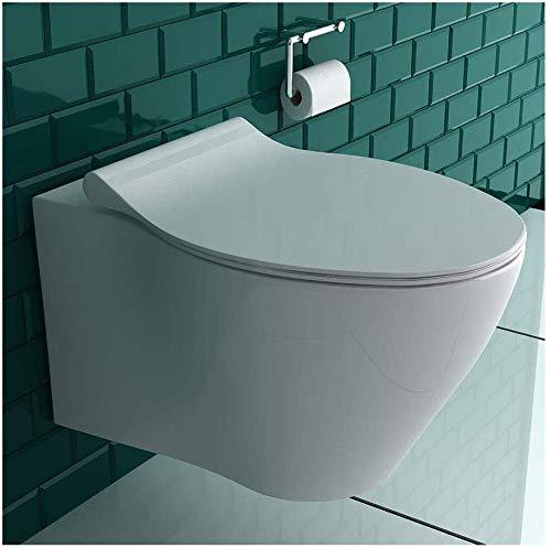 Spülrandloses & Wandhängendes Raumspar-WC integrierter Bidet-Taharet Funktion mit verstellbarer Düse + Duroplast Abnembarer WC-Sitz inkl. Soft-Close-Funktion | Formschönes Design | Reinigungsfreundlich und Hygienisch | passend zu GEBERIT