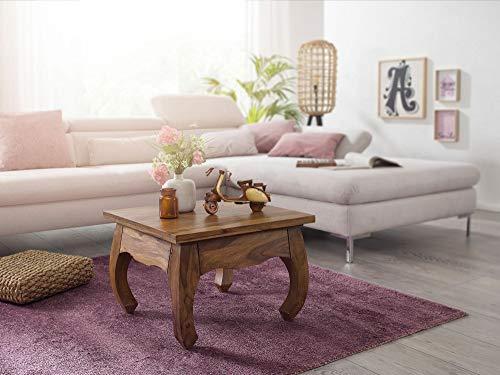KS-Furniture Mesa de centro Opium de madera maciza Sheesham, 60 cm de ancho, mesa de salón, diseño marrón oscuro, estilo rústico
