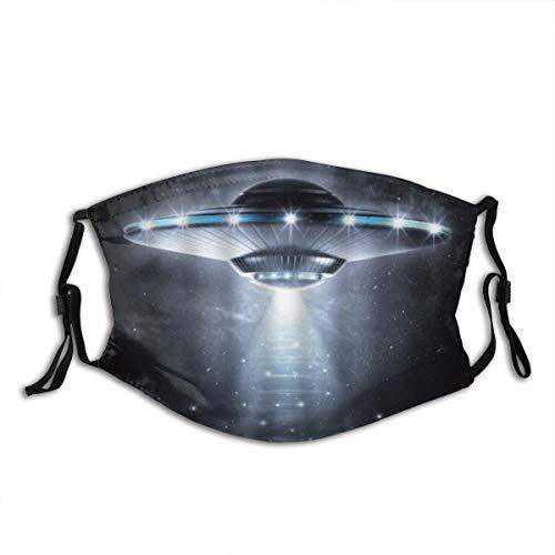LASINSU Gesichtsbedeckung,Weltraum UFO Aliens Raumschiff Beam to Starry Night Sci Fi Theme,Sturmhaube Unisex Wiederverwendbar Winddicht Staubschutz Mund Bandanas Outdoor Camping Mit 2 Filtern