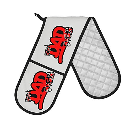 Best DAD Ever Double Oven Gloves (7.5 inches x 35 inches) Heat-Resistant Grilling Kitchen Gloves