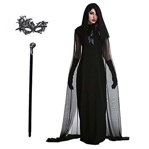 AISHANGYIDE Disfraz de Bruja para Mujer Adulto Disfraz de Halloween Dama Traje de Mago Vampiro Cosplay Disfraces Vestido de Medieval Retro Vestido de Fiesta de Carnaval