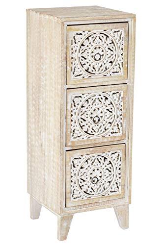 Orientalischer Holz Nachttisch Enfal für Boxspringbett Shabby Weiss 70cm groß | Vintage Telefontisch Beistelltisch Deko orientalisch | Indischer Nachtschrank Extra Hoch | Asiatische Möbel aus Indien
