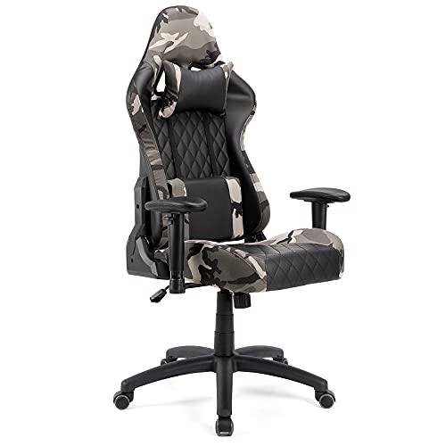 BlueOcean Möbel Gaming Stuhl Büro Ergonomischer Schreibtischstuhl Einstellbare Höhe Chefsessel Drehstuhl Konferenz Arbeit Computer Stuhl mit Lendenwirbel- und Kopfkissen für Erwachsene