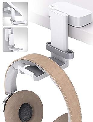 Lamicall Headphone Stand, Swivels Headset Hanger - Adjustable Desktop Earphone Holder Hook Mount for Gaming Headset, Kids Headphones, Wired Headphones, Sony, Sennheiser, Beats, xBox, etc - White from Lamicall