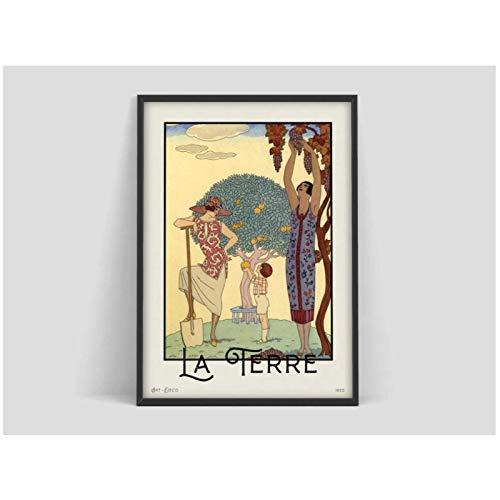 LIUXR George Barbier La Terre Vintage Art Prints Art Nouveau Poster and Prints Wall Art Pictures para la decoración de la Pared del hogar -50x70cm Sin Marco