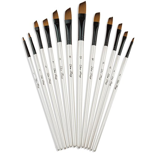 StarVast Angled Painting Brushes, 12pcs Professional Angled Paint Brush Set for Watercolor Oil Acrylic Crafts Rock Face Painting and Gouache - White