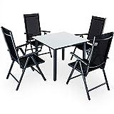 Casaria Conjunto de 1 Mesa y 4 sillas de Aluminio Bern Respaldo reclinable Antracita Muebles de...
